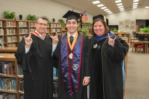 Early College High School Valedictorian Anthony McIntosh, TSTC Chancellor Michael L. Reeser and Interim President Stella Garcia attend TSTC's Spring Commencement.